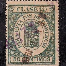 Sellos: ,,FISCAL PARA EFECTOS DE COMERCIO CLASE 14ª 50 CTS. VERDE AZUL USADA, CATALOGO GALVEZ 1923 Nº 597. Lote 30169117