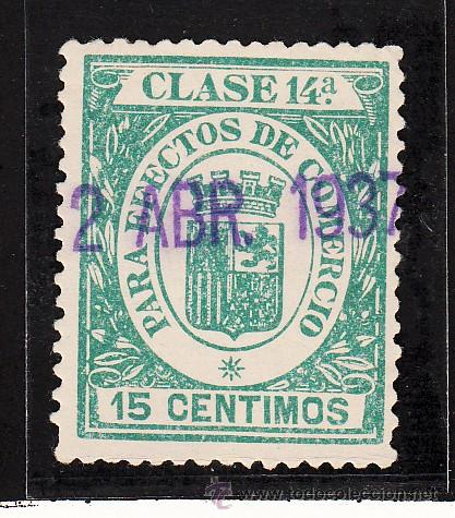 ,,FISCAL PARA EFECTOS DE COMERCIO CLASE 14ª 15 CTS. VERDE USADA, ESCUDO CORONA MURAL (Sellos - España - Guerra Civil - Locales - Nuevos)