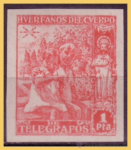 BENEFICENCIA H. TELÉGRAFOS 1938 NIÑOS Y SANTIAGO, EDIFIL Nº 20S * * (Sellos - España - Guerra Civil - Beneficencia)