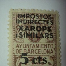 Sellos: BARCELONA XAROPS I SIMILARS FISCAL 5 CENTIMOS NUEVO CON GOMA GUERRA CIVIL . Lote 29569243