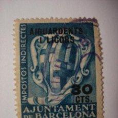 Sellos: BARCELONA AIGUARDENTS I LICORS FISCAL 30 CENTIMOS USADO GUERRA CIVIL . Lote 29569247