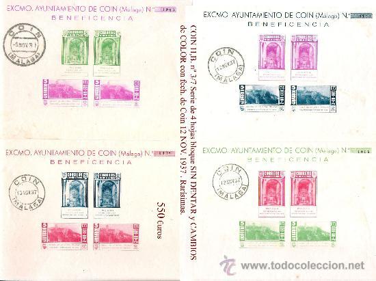 1937 EMISION EMITIDA EN COIN (MÁLAGA) H.B. Nº 3/7 VARIEDADES Y CAMBIOS DE COLOR MATASELLADAS (Sellos - España - Guerra Civil - Locales - Usados)