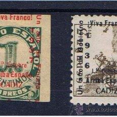 Sellos: CADIZ NUEVOS* 1937 EDIFIL 18-21 SOBRECARGA VIVA FRANCO 1 OCTUBRE ARRIBA ESPAÑA. Lote 29939310