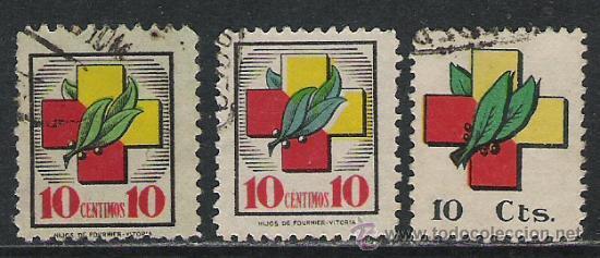 0105-LOTE SELLOS LOCALES SOBRETASAS FRENTES Y HOSPITALES AÑO 1938 3 DIFERENTES,VEAN EL COLOR DE (Sellos - España - Guerra Civil - Locales - Usados)
