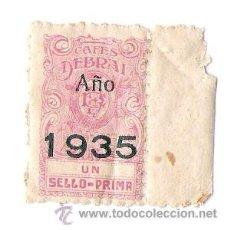 Sellos: CAFES DEBRAI - UN SELLO PRIMA- AÑO 1935 . Lote 29796504