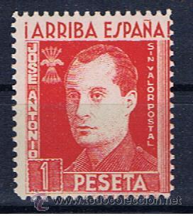 JOSE ANTONIO PRIMO DE RIVERA FUNDADOR DE FALANGE NUEVO** ARRIBA ESPAÑA 1 PTS SIN VALOR POSTAL (Sellos - España - Guerra Civil - Viñetas - Nuevos)