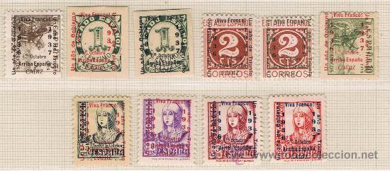 CADIZ VIVA ESPAÑA 1937 EDIFIL 17-26 NUEVOS*/** SERIE COMPLETA (Sellos - España - Guerra Civil - Locales - Nuevos)