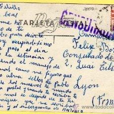 Sellos: GUERRA CIVIL, CURIOSA POSTAL CENSURADA ENVIADA AL CONSULADO ESPAÑOL FRANCIA - MADRID CALLE DE ALCALÁ. Lote 30205416
