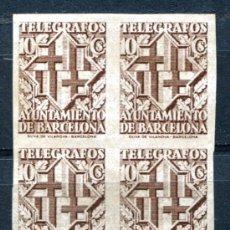 Sellos: EDIFIL 13 DE TELÉGRAFOS DE BARCELONA. BLOQUE DE 4. VER DESCRIPCIÓN. Lote 30245769