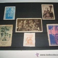 Sellos: LOTE SELLOS BENEFICIENCIA Y SEMANA SANTA CORDOBA 19471948 VERGARA COL. HUERFANOS DIR. GEN.SEGURIDAD. Lote 30245903