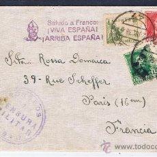Sellos: CIRCULADO 1938 DE BILBAO A PARIS CON CENSURA MILITAR I SALUDO A FRANCO. Lote 30972641