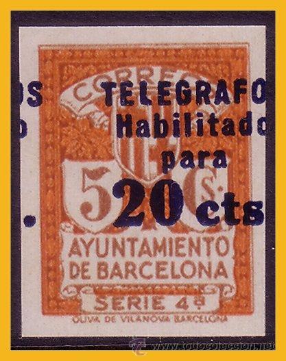 """BARCELONA TELÉGRAFOS 1937 """"TELÉGRAFOS, HABILITADO PARA ...."""" EDIFIL Nº 11S (*), PRUEBA (Sellos - España - Guerra Civil - De 1.936 a 1.939 - Nuevos)"""