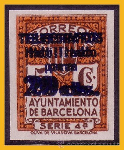 """BARCELONA TELÉGRAFOS 1937 """"TELÉGRAFOS, HABILITADO PARA ...."""" EDIFIL Nº 11S HH (*), PRUEBA (Sellos - España - Guerra Civil - De 1.936 a 1.939 - Nuevos)"""