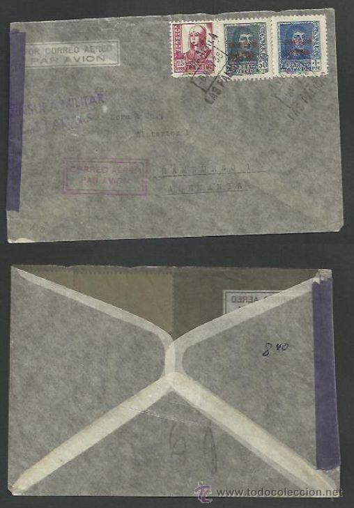 """SOBRE CENSURA MILITAR LAS PALMAS, ED 845 846 SOBRECARGA """"CORREO AÉREO"""" (Sellos - España - Guerra Civil - De 1.936 a 1.939 - Cartas)"""