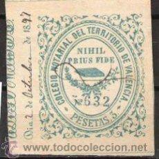 Sellos: 1414-SELLO FISCAL ANTIGUO COLEGIO NOTARIAL VALENCIA 3 PESETAS DATA 18..,RARO. Lote 30559288