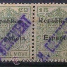 Sellos: 3399-SELLOS FISCALES ALFONSO XIII HABILITADOS PARA LA REPUBLICA Y EN DIAGONAL SOBRECARGA PRIVADA R.. Lote 30679977