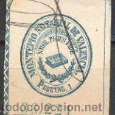 Sellos: 773-SELLO FISCAL COLEGIO NOTARIAL VALENCIA 1 PESETA 1900.MONTEPIO AZUL .SPAIN REVENUE. Lote 31121993