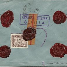Sellos: GUERRA CIVIL ESPAÑOLA RARA CARTA CON CENSURA MILITAR DE SEVILLA 17/09/1938. Lote 31164691
