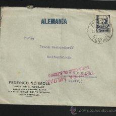 Sellos: SOBRE SANTA CRUZ DE TENERIFE ALEMANIA CENSURA MILITAR ESTADO ESPAÑOL FRANCO GUERRA CIVIL **********. Lote 31206658