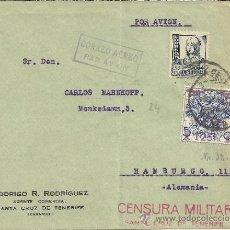 Sellos: CANARIAS CC GUERRA CIVIL SELLO SOBRECARGADO CORREO AEREO Y MARCA DE CENSURA DE TENERIFE . Lote 31243150