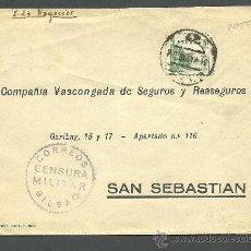 Sellos: C-NC 1 GUERRA CIVIL - CORREOS - CENSURA MILITAR -BILBAO - CIRCULADO DE EIBAR A SAN SEBASTIAN . Lote 31286918