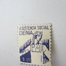 Sellos: ASISTENCIA SOCIAL , DENIA - . 5 CENTIMOS , GUERRA CIVIL. Lote 31385932