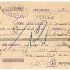 Sellos: 1936 TARRASA. J. ROQUÉ VIUDA DE CASTELLS SELLO EMPRESA COLECTIVIZADA GUERRA CIVIL LETRA DE CAMBIO 9ª. Lote 31466208