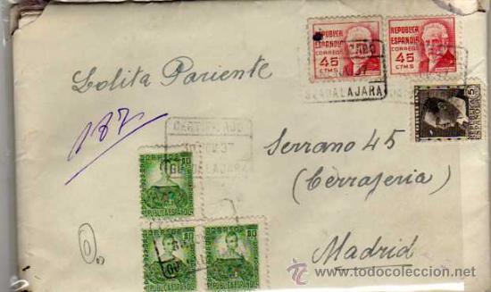 CARTA GUERRA CIVIL 30 NOVIEMBRE 1937. 6 SELLOS, REPUBLICA. HOSPITAL ALCOHETE GUADALAJARA (Sellos - España - Guerra Civil - De 1.936 a 1.939 - Usados)