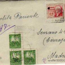 Sellos: CARTA GUERRA CIVIL 30 NOVIEMBRE 1937. 6 SELLOS, REPUBLICA. HOSPITAL ALCOHETE GUADALAJARA . Lote 31683020