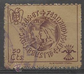 FALANGE RAREZA DE SELLO DE ISABEL Y FERNADO 10 CTO. (Sellos - España - Guerra Civil - Viñetas - Usados)