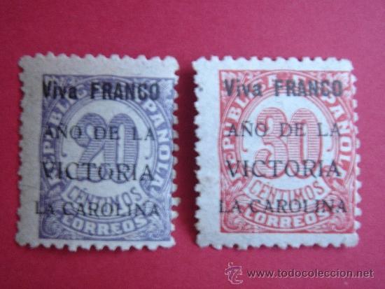 DOS SELLOS 20 CTS REPÚBLICA, CON SOBRECARGA FRANCO -LA CAROLINA (JAÉN)- (Sellos - España - Guerra Civil - De 1.936 a 1.939 - Nuevos)