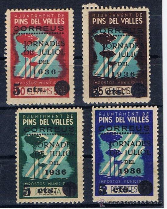 PINS DEL VALLES JORNADES JULIOL 1936 NUEVOS** IMPOSTOS MUNICIPALS (Sellos - España - Guerra Civil - Locales - Nuevos)