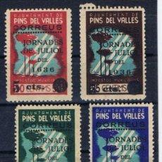Sellos: PINS DEL VALLES JORNADES JULIOL 1936 NUEVOS** IMPOSTOS MUNICIPALS. Lote 206815303