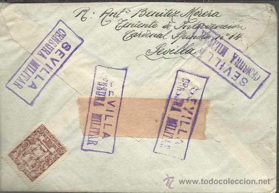 CARTA CON RARA CENSURA MILITAR DE SEVILLA (Sellos - España - Guerra Civil - De 1.936 a 1.939 - Cartas)