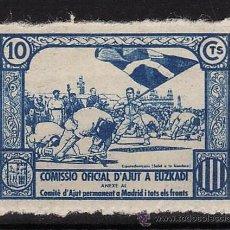 Selos: VIÑETA - COMISSIO OFICIAL D'AJUT A EUZKADI - 10CTS - AZUL - SIN USAR - GUERRA CIVIL ESPAÑOLA. Lote 32220937