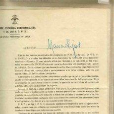 Sellos: LOTE DE DOCUMENTOS DE LA FALANGE. Lote 32304755