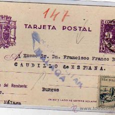 Sellos: ENTERO POSTAL CON VIÑETA PRO MALAGA. CENSURA MILITAR MALAGA. 18 DE JULIO DE 1938.. Lote 32316511