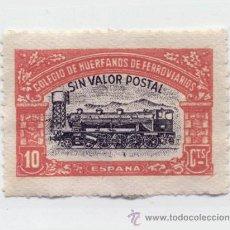 Sellos: SELLO COLEGIO DE HUERFANOS DE FERROVIARIOS / 10 CTS. ROJO / USADO. Lote 33569684