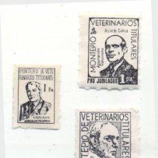 Francobolli: 3 SELLOS DIFERENTES / MONTEPIO DE VETERINARIOS TITULARES / SIN USAR. Lote 222955853