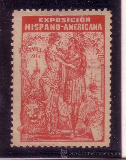 VIÑETA SIN VALOR POSTAL, EXPOSICION HISPANO AMERICADA DE SEVILLA 1914 (Sellos - España - Guerra Civil - Viñetas - Nuevos)