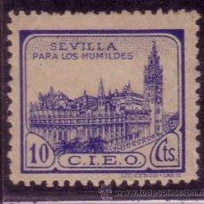 Sellos: VIÑETA SEVILLA PARA LOS HUMILDES 10 CTMOS. C.I.E.O.EN AZUL. . Lote 32415205