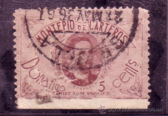 VIÑETA DEL MONTEPIO DE CARTEROS DE 5 CTMOS. DR. THEBUSSEM MATASELLADA (Sellos - España - Guerra Civil - Viñetas - Usados)