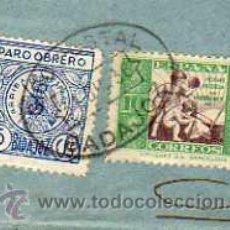 Sellos: PARO OBRERO. BADAJOZ. 10 CTS ESPAÑA. SOBRE SIN CARTA.. Lote 33108012
