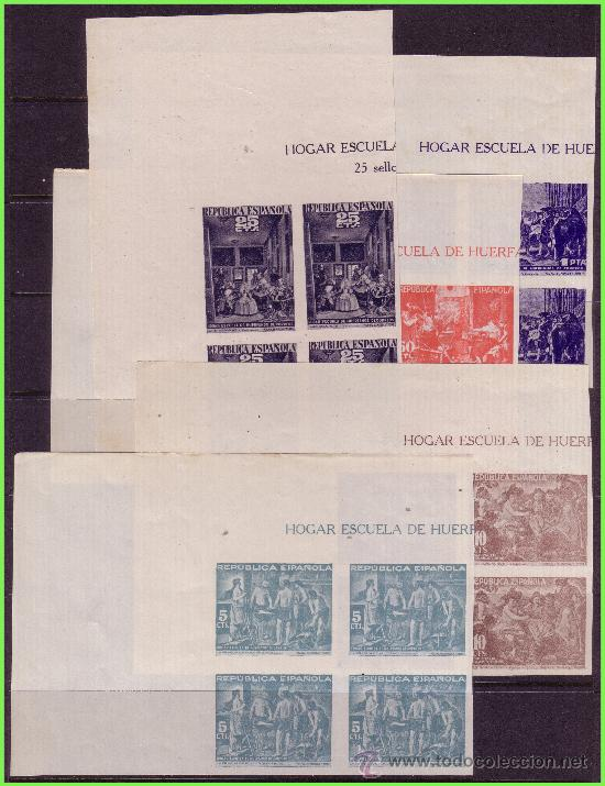 BENEFICENCIA 1938 CUADROS DE VELÁZQUEZ, EDIFIL Nº 29S A 33S (*) B4, ESQUINA PLIEGO (Sellos - España - Guerra Civil - Beneficencia)