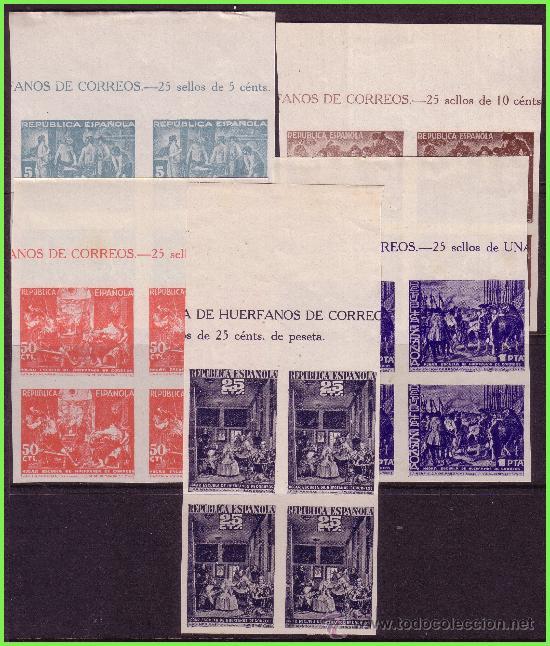BENEFICENCIA 1938 CUADROS DE VELÁZQUEZ, EDIFIL Nº 29S A 33S (*) B4, CABECERA DE PLIEGO (Sellos - España - Guerra Civil - Beneficencia)