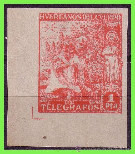 BENEFICENCIA HUÉRFANOS DE TELÉGRAFOS 1937 MOTIVOS RELIGIOSOS, EDIFIL Nº 20S * * LUJO (Sellos - España - Guerra Civil - Beneficencia)