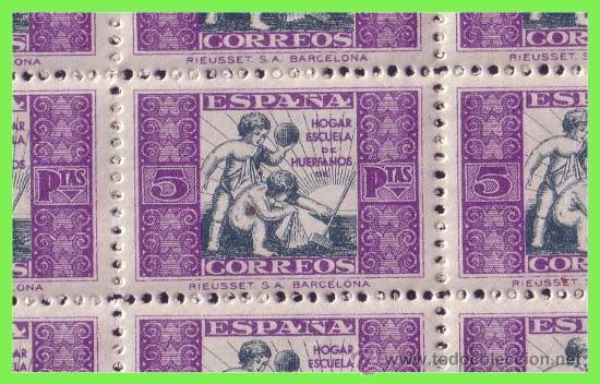 Sellos: BENEFICENCIA 1934 Alegoría Infantil, EDIFIL nº 8 * * pliego completo: 50 sellos - Foto 2 - 33137629