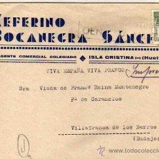 Sellos: CEFERINO BOCANEGRA SÁNCHEZ. ISLA CRISTINA. HUELVA. CENSURA MILITAR. 1939. Lote 33237952