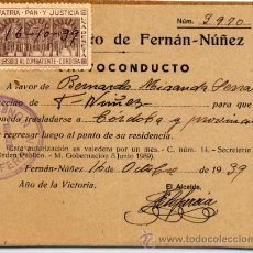 Sellos: SALVOCONDUCTO CÓRDOBA 1939 CON SELLO LOCAL. . Lote 33317487