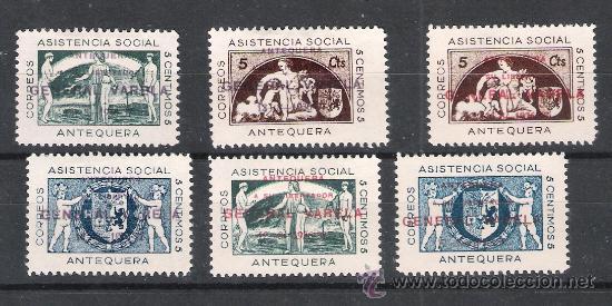 1937 ANTEQUERA.- PAR DE SERIES NUEVAS SOBREC. -GENERAL VARELA- (TIPO A) EN ROJO Y EN VIOLETA. RARA (Sellos - España - Guerra Civil - De 1.936 a 1.939 - Nuevos)